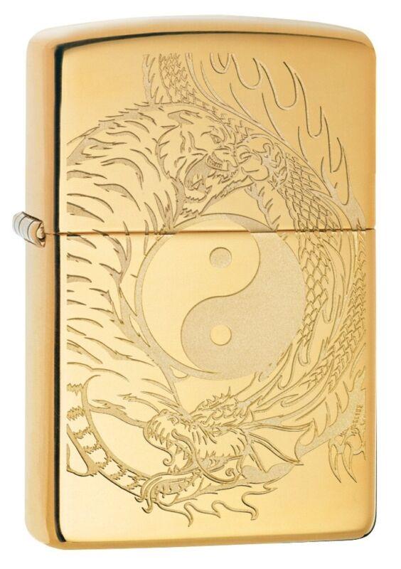Zippo Tiger and Dragon Design High Polish Brass Windproof Pocket Lighter, 49024