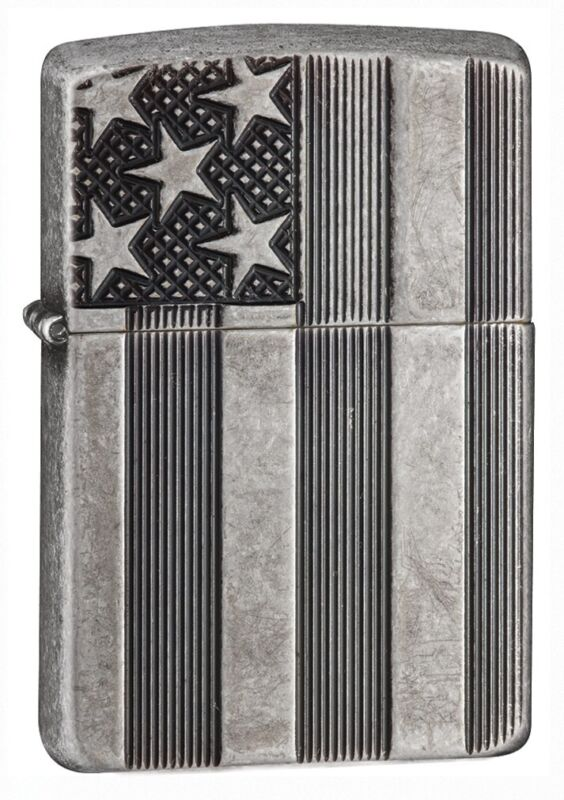Zippo Armor Antique Silver Flag Windproof Pocket Lighter, 28974
