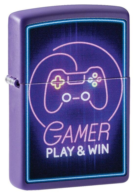 Zippo Gamer Controller Design Purple Matte Windproof Pocket Lighter, 49157