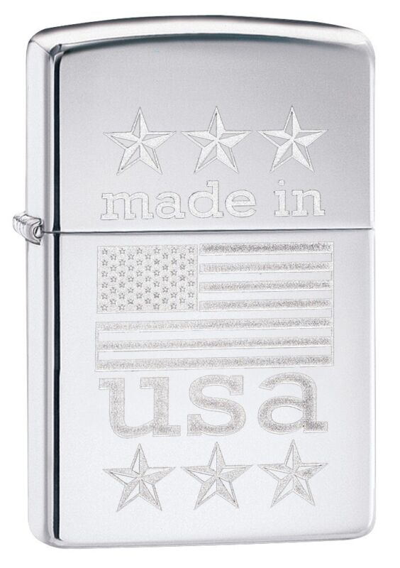 Zippo Made in USA with Flag High Polish Chrome Windproof Pocket Lighter, 29430