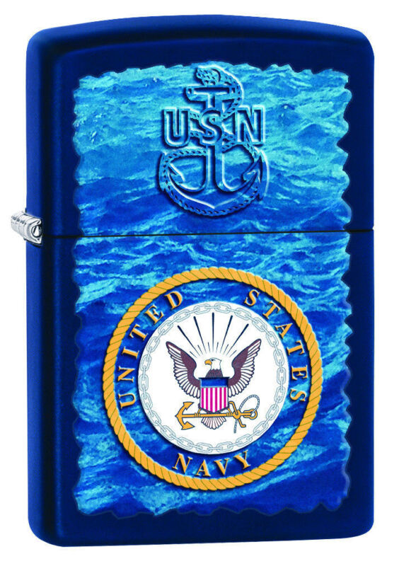 Zippo Windproof U.S. Navy Lighter With Blue Water, 28746, New In Box