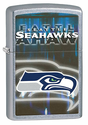 Zippo Street Chrome Lighter With Seattle Seahawks Logo, 28611, New In Box