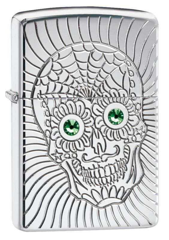 Zippo Armor Sugar Skull Design High Polish Chrome Windproof Pocket Lighter, 4...