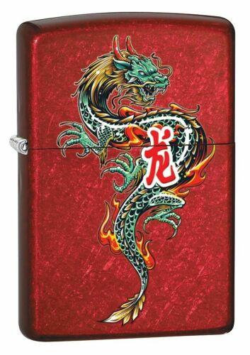 Zippo 8964, Oriental Dragon Tattoo, Candy Apple Red Finish Lighter