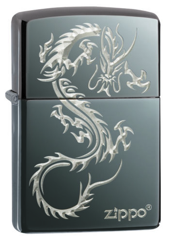 Zippo 2019 Chinese Dragon Design, With Logo, Black Ice 49030