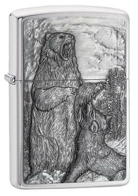 Zippo Windproof Chrome Bear vs. Wolf Emblem Lighter, 29636, New In Box