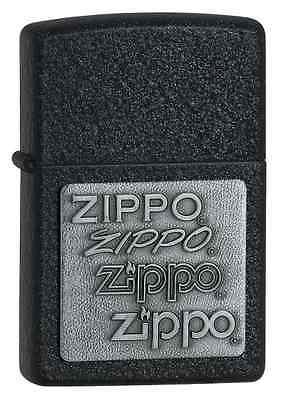 Zippo Pewter Emblem Black Crackle - Zippo 363, Pewter Emblem, Black Crackle Finish Lighter, Full Size