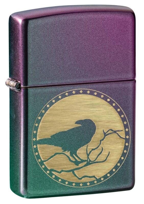 Zippo Raven Silhouette Design Iridescent Windproof Pocket Lighter, 49186