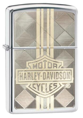 Zippo Harley Davidson Lighter With Logo and Geometric Pattern, 29779, New In Box
