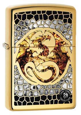 Zippo Custom Lighter Ann Stokes Artist DRAGON SCALES Design High Polish Brass