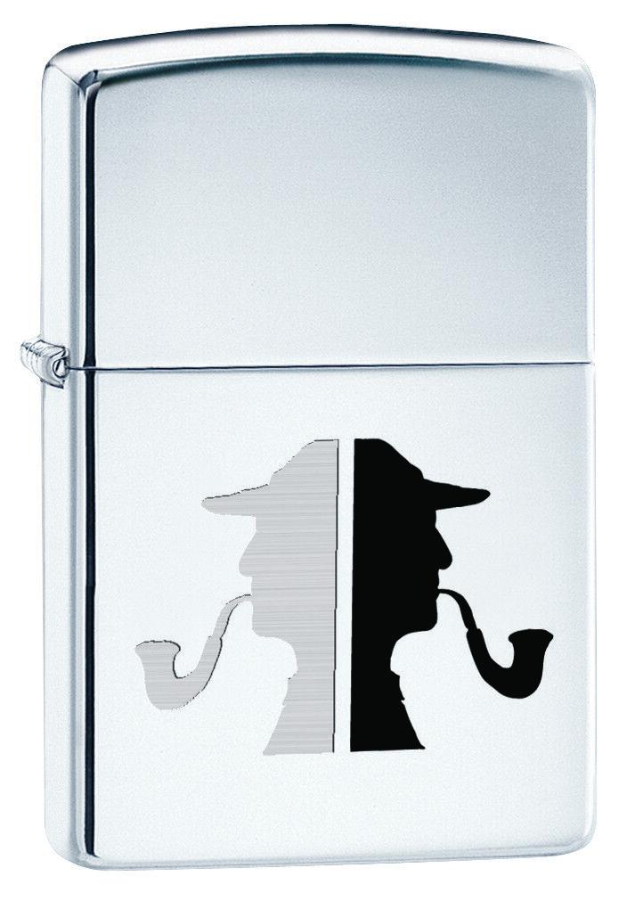 Zippo Custom Lighter Classic Detective Pipe Man Silhouette H