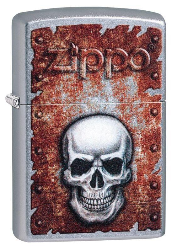 Zippo Rusted Skull Design Street Chrome Windproof Pocket Lighter, 29870