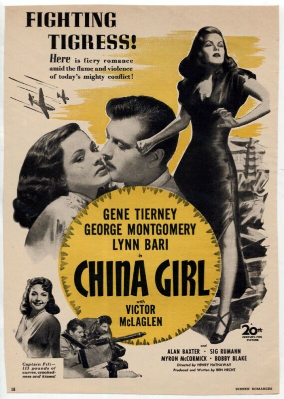 "VTG ""China Girl"" 1942 Gene Tierney George Montgomery Movie Magazine Print AD"