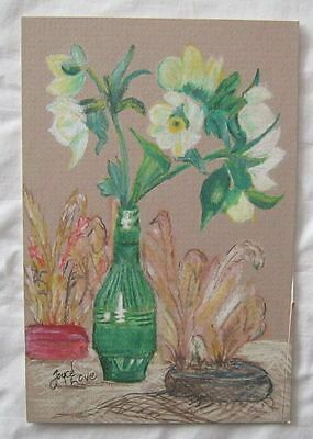 4x6 Colored Pencil Drawing Flowers In Green Bottle