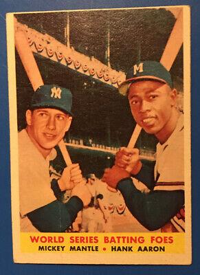 1958 Topps Baseball #418 MANTLE AARON Batting Foes - VG