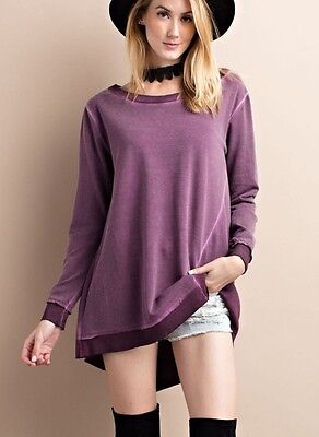 Easel French Terry Mix Washed Ombre Blend Long Sleeve Top With Shark Fin Bottom