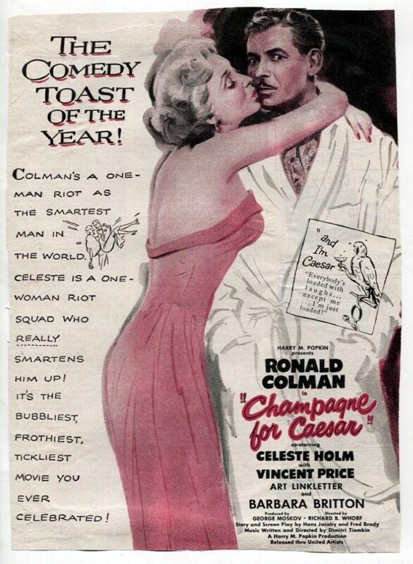 VTG Champagne for Caesar 1950 Ronald Colman Celeste Holm Movie Magazine Print AD