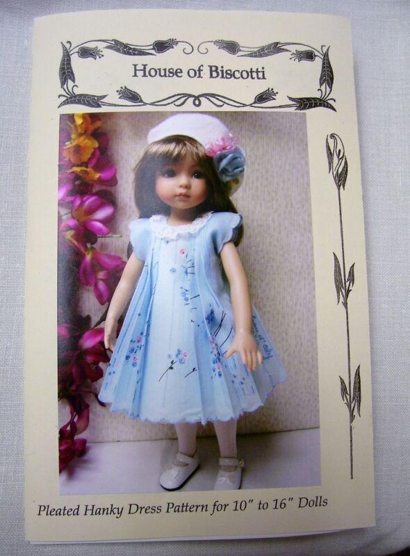 """Hanky Dress, Hat  PATTERN for 10"""" to 16"""" Dolls  Little Darling,  Bleuette,"""