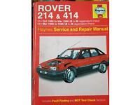 ROVER 214/414 HAYNES REPAIR MANUAL. £4.00