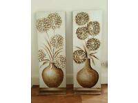 2 x metallic effect flower canvases - bedroom canvas natural gold brown beige