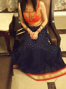 Orange and navy blue Indian lengha dress  for sale !