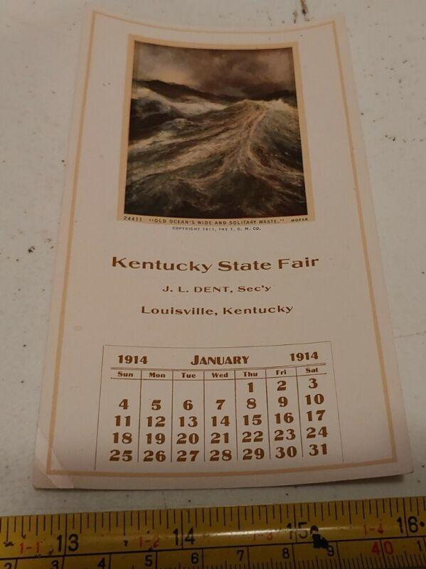 Vintage 1914 Louisville Kentucky State Fair Month Calendar