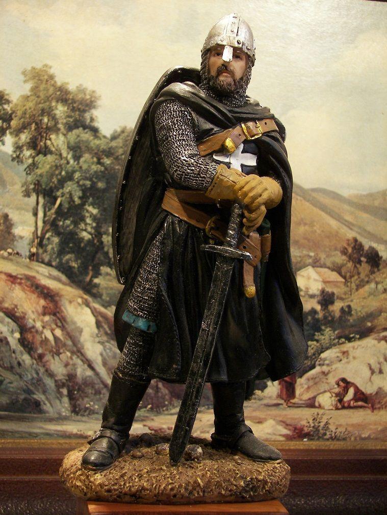 "Hand Painted Medieval Crusader Black Knight Templar Figure Gift  20 cm/ 7.87"""