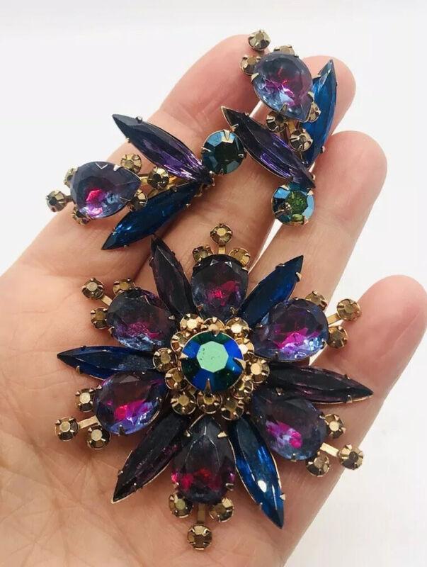 Signed Celebrity Amethyst Givre Rhinestone Brooch Earrings Demi Vintage Jewelry