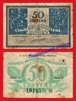 Billete Local Manresa Consejo Municipal 50 Centimos 1937 - / F -  - ebay.es