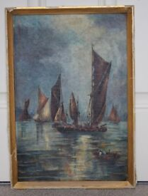Oil paint on canvas picture of the Sailing Boats, with sign and dated 1929