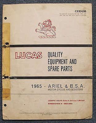 LUCAS ARIEL & BSA Motorcycles Spares List 1965 #824/65