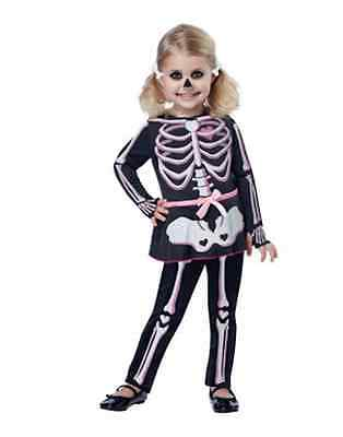 Skeleton Ghost Costume Little Girls Toddler Jumpsuit Attached Skirt Size 3T-6T  - Skeleton Costume Toddler