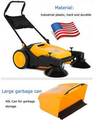 39.5 Width Triple Brush Push Power Sweeper Portable Cleaner Hard Rubber Newest