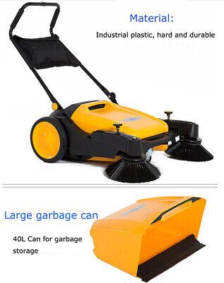 Brand New Triple Brush Push Power Sweeper Pavement 39.5 Hand-push Type 025019