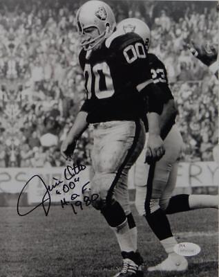 Jim Otto Autographed 8x10 Raiders B/W On Field Photo W/ HOF- JSA W (Field Autographed 8x10 Photograph)