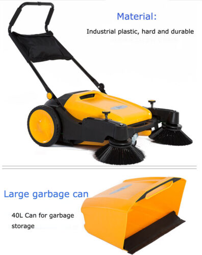Hard Rubber Triple Brush Push Power  Pavement Sweeper Walk-behind Sweepr 39.5""