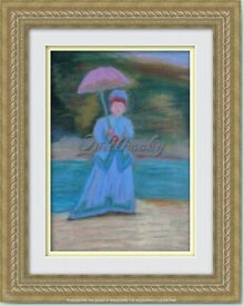 Original Hand Painted Oil Pastels Art Painting Lady with pink umbrella