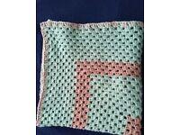 Crochet Blanket sage green & oatmeal. 30 x 30 inches. Wheelchair,pram,cot,car.
