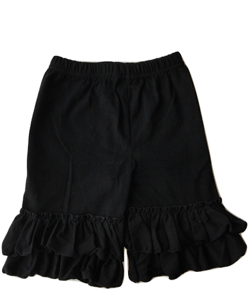 Ruffle Trimmed Knee-Length Shorts Cotton Jersey Relaxed Fit Girls Sizes 3T-16
