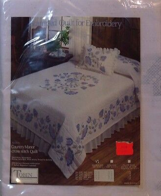TOBIN CROSS STITCH QUILT STAMPED COUNTRY MANOR DOUBLE