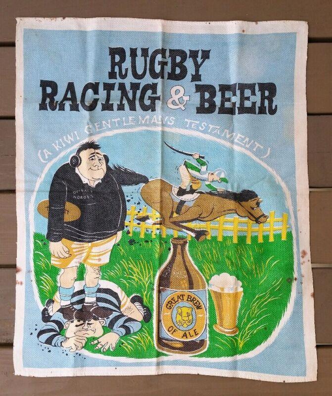 Rugby Racing Beer New Zealand Vtg Fabric Wall Hanging Kiwi Gentlemans Testament
