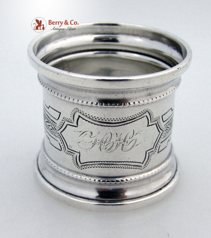 Engraved Shaped Napkin Ring Coin Silver 1875 Monogram HH