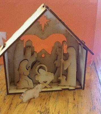 Wood nativity puzzle set Baby Jesus Mary wise men stable shepherd