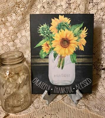 Thankful Grateful Blessed (Mason Jar Sunflowers Bouquet,  Grateful - Thankful - Blessed  Handcrafted)
