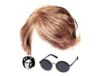 70/'s Mersey Beatles Wig /& Tash Black Adult Hippy Men/'s Fancy Dress Costume