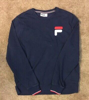 Fila Sweatshirt Crew Neck Navy Blue  Embroidered Size XL Red White Blue Clean Navy Blue Crew Sweatshirt