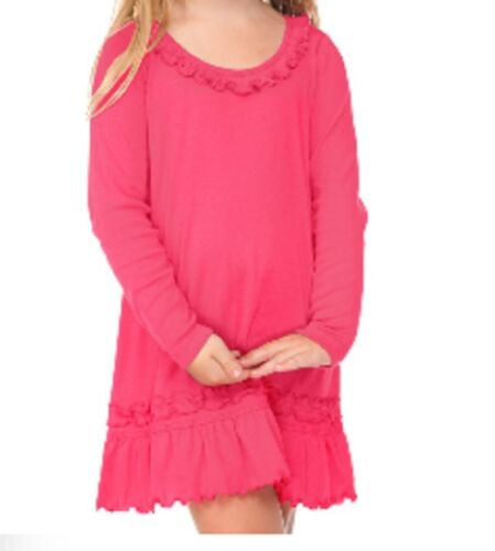 Cotton Dress Infant Toddler Girls Blanks Long Sleeve Ruffle Neck 12M to 6T