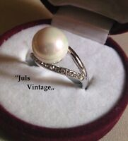 Anello Vintage Anni'30 Con Perla-bianca 8mm, Brillanti Su' Lega Argento/platino -  - ebay.it