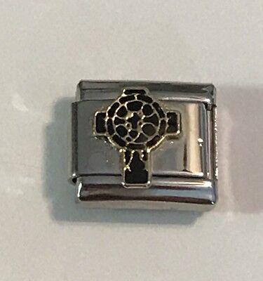 - Celtic Cross - Black & Gold Trim -  9mm Italian Charm Link For Bracelet