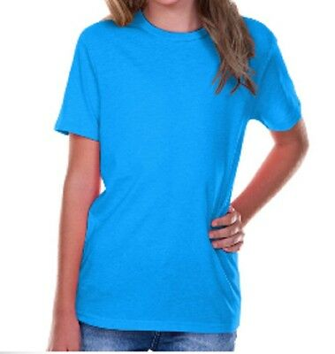 100% Cotton Fine Jersey Short Sleeve T Shirt Blanks Youth Girl Boy Sz. 4-18 - Youth Fine Jersey T-shirt